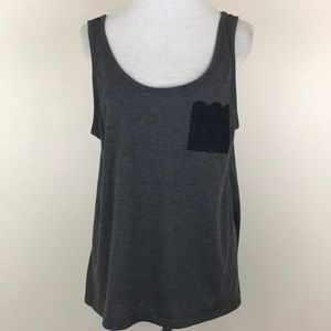 LOL Vintage Gray Tank With Lace Pocket